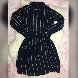 Banana Republic Cinch Waist Stripe Dress Navy Blue